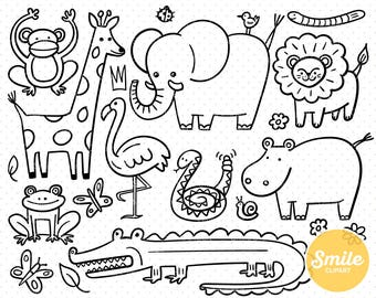 Line Art Zoo Animals Clipart Illustration for Commercial Use   0498