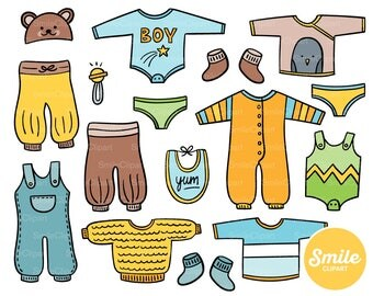 Doodle Baby Boy Clothes Clipart Illustration for Commercial Use   0499