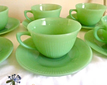 Set Of 8 Jadeite Jane Ray Ribbed Teacups And Saucers Anchor Hocking