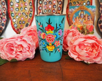 Hand Painted Kashmir Enamelware Gypsy Hippie Shabby Chic Floral Glamping Chai Tumbler Cup
