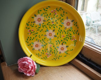 Hand Painted Kashmir Gypsy Floral Enamelware Hippie Shabby Chic Glamping  Camping Blossom Tray