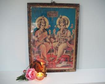 Beautiful Vintage Antique Hindu Ganesh Lakshmi Indian God Goddess Diwali Framed Holy Devotional Puja Print Shrine Picture Art Lithograph