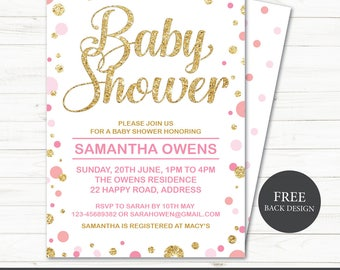 Printable Baby Girl Shower Invitation | Baby Shower Invite | Girl Shower | polka dots | gold glitter polka dot | Editable Instant download