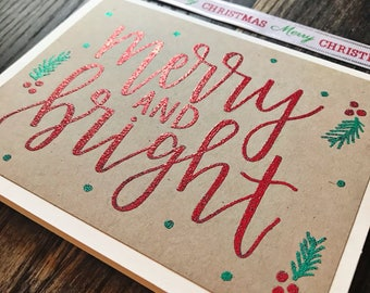 Merry and Bright Holiday Greeting Card with Red Embossed Lettering - Handmade Rustic Calligraphy Card - Single Card