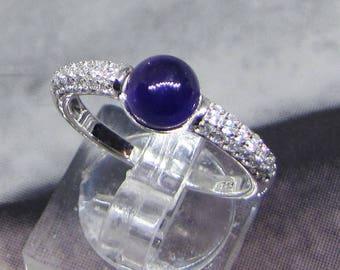 Ring Cabochon silver Amethyst size 60