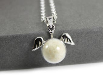 DIY Breast Milk Pearl Sterling Silver Dainty Angel Wings Pendant Necklace Kit, Do it Yourself DNA Breastmilk keepsake
