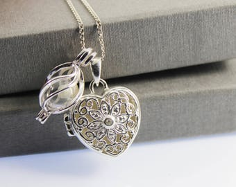 Sterling Silver Memorial Cremation Ash Flower Heart Locket Necklace. Keepsake Memory of Loved, Memorial Jewellery, Urn Necklace