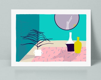 80's Palm tree illustration poster