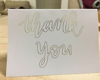 Thank You Greeting Card, outlined - customisable hand lettering, foiled