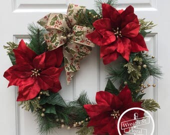 Christmas Wreath, Holiday Wreath, Poinsettia Wreath, Red Wreath, Wreath Street Floral, Grapevine Wreath, Front Door Wreath, Wreaths