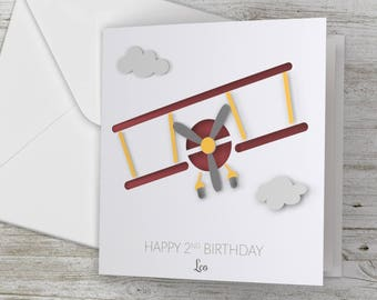 Personalized / Personalised Happy Birthday 3D Card Plane