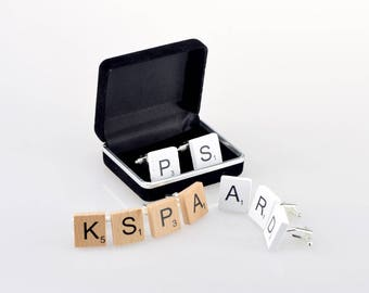 Scrabble Tile Cufflinks with Gift Box Wedding Favours for groom , Best Man & ushers