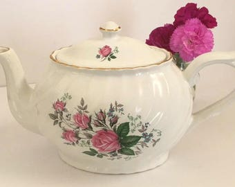 English teapot, vintage teapot, Arthur Wood and Son, Staffordshire, teapot with pink roses, gift for her, housewarming gift, Shabby Chic