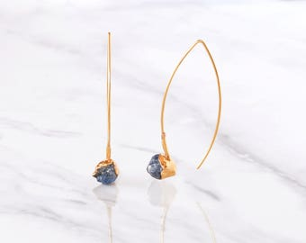Edgy Raw Sapphire Earring, Blue Sapphire Earrings, September Birthstone Earrings, Raw Crystal Earrings, Rough Sapphire Earrings, Unique Gift