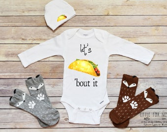 Funny Onesie®, Taco Onesie®, Baby Boy Clothes, Boy Onesie®, Taco Shirt, Fast Food Onesie®, Lets Taco Bout It, Taco and Nacho