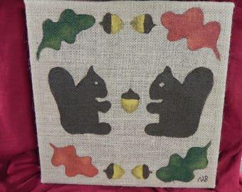 Burlap canvas squirrel  painting