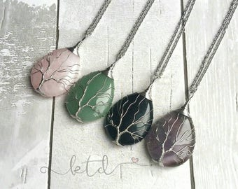 Gemstone tree of life necklace- wire wrapped pendant- christmas gift for her- midwife gift- gift for mom- tree of life pendant- rose quartz