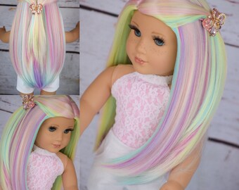 "10-11"" Custom Doll Wig made for AG dolls  Rainbow Curling Iron Safe New Fits American Girl head"