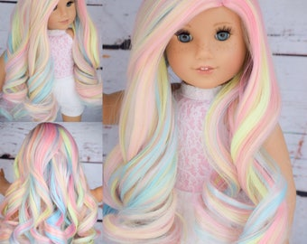 "Custom Doll Wig Deluxe Heat safe fibers for 18"" American Girl Dolls, My Life, Journey Girls"