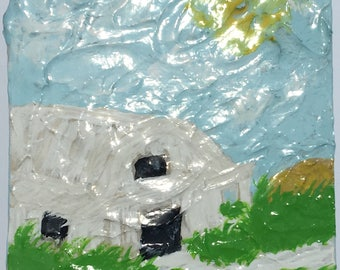 White Barn Painting Original Art by CLTreat