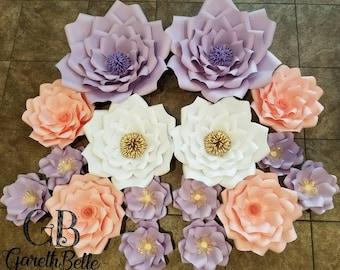 purple paper flower set
