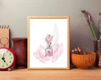 Light Pink, Floral Chanel Perfume,Printable Wall Print, Instant Download, Digital Art Print