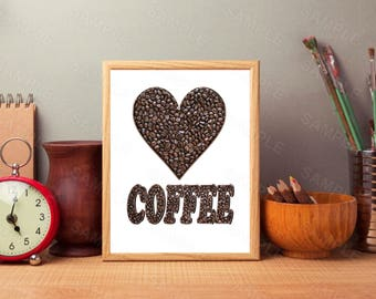 Coffee Art Print, Instant Download, Printable Kitchen Decor, Digital Art Print, Coffee Typography Printable
