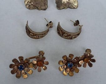 35% Off 3 Pairs of Vintage Sterling Silver Earrings