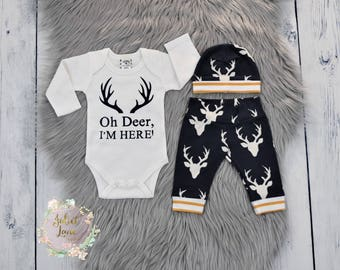 Oh Deer I'm Here, Coming Home Outfit, Baby Boy Outfit, Newborn Boy Gift, Oh Deer Outfit, Newborn Outfit, Baby Shower Gift, Baby Boy Gift