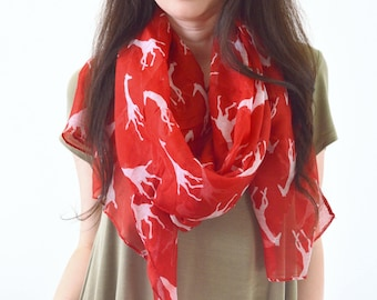 Giraffe Printed Scarf, Summer Scarf, Fashion Scarf, Woman Scarf, Animal Print Scarf, Gift