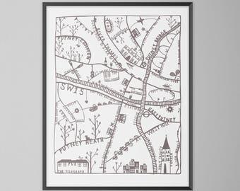 Putney London Hand Drawn Map Illustration Print
