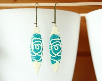 enamelled sequin ivory and turquoise earrings