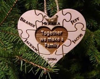 Family Heart Christmas Ornament - 6 Names or 5 w Year - Personalized - Gift Box