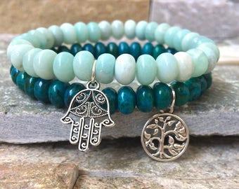 Hamsa tree of life bracelet set mala bracelet Chrysocolla, Amazonite