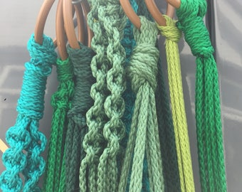Hand knotted macrame plant holder - various length/design/colours....