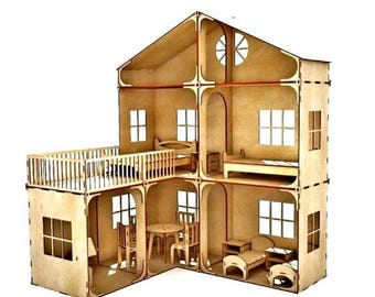 Doll House, Dollhouse, Wooden Dollhouse Kit, Plywood House, Dollshouse, Wooden Doll House for Girls, Dollhouse with Furniture