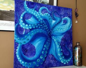 Octopus art, Ocean art, Nautical decor, Ocean decor, Nautical nursery decor, Ocean life, Psychedelic art, Animal decor, Acrylic painting