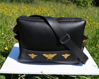 Black bag with adjustable shoulder strap, three patterns Golden insects, faux leather, vegan leather, hand-made