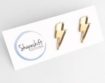 Mirrored Acrylic Studs - Gold Lightning Bolts