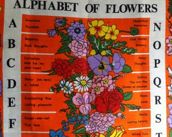 Vintage Tea Towel, Wall hanging, 1960's Lamont, Alphabet of Flowers, Irish Linen, as new.