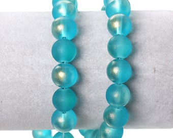 10 round 10mm frosted blue glass beads
