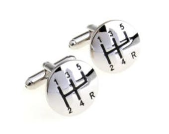 Car Gears Cufflinks - Father's Day/Christmas/Birthday Present/Gift - Silver Plated
