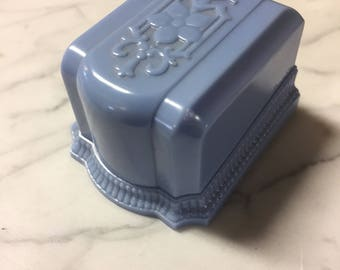 Vintage Celluloid Plastic Art Deco Ring Box 2 Ring Display Blue