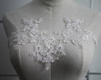 Luxury Ivory Lace Applique, Lace Applique For Wedding Dress Grown Bridal Veil Bodice, Bridal Lace Applique, Lot of 2 Pieces, WA-22