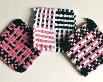 "Set of 3: Bright color, woven pot holders, hot pads -  ""Pink Flamingo"""