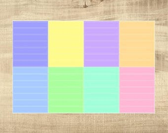 8 Multi-Coloured Pastel Blank Header Stickers for Erin Condren LifePlanner