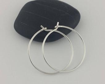 Thick Silver Hoop Earrings, 18 gauge (1mm) Hoops, Sterling Silver Hoops, Hoop Earrings, Argentium Sterling Silver, Thick Hoops, Round Hoops