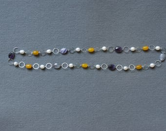 Multicolor Stone and Pearl Necklace