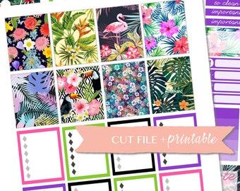 FLAMINGO STICKERS, Tropical printable stickers, Summer Tropical planner, Summer digital stickers, Tropical Kit, digital planner stickers