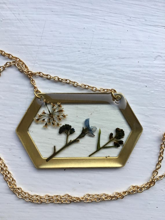 Forget-me-not and Queen Anne's lace brass hexagon necklace